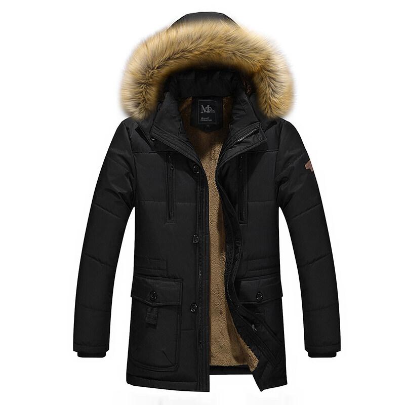 中年棉衣男士冬装加绒加厚爸爸装中长款连帽棉服外套中老年男棉袄