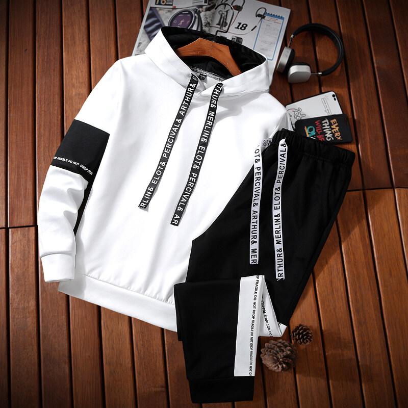 2018春秋季新款两件套日系韩版男式卫衣男学生运动外套连帽套