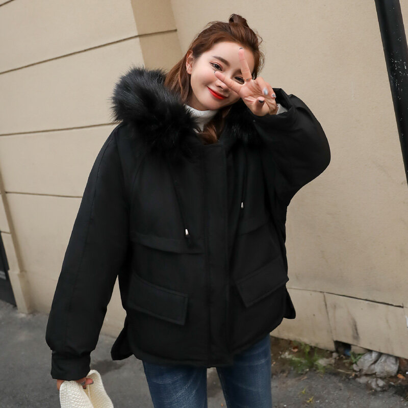 矮个子女韩版连帽大毛领棉衣女棉服