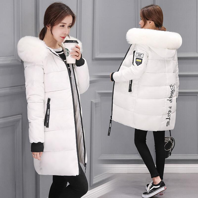 女棉衣2018冬季新款羽绒服中长加厚韩版修身毛领连帽女外套