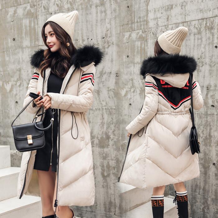 2018女士中长款时尚修身显瘦新款羽绒服女真毛领棉服外套女