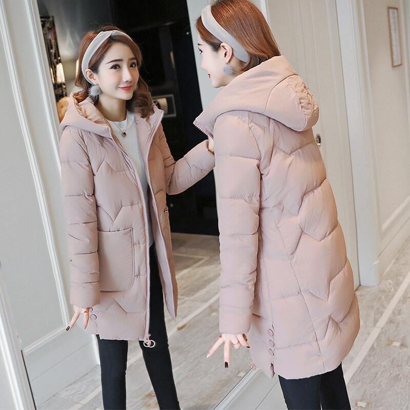 大口袋中长款棉服2018冬季新款韩版修身棉衣女百搭连帽