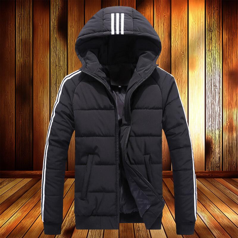 冬季外套男韩版潮三条杠棉衣修身帅气潮流百搭连帽可印LOGO