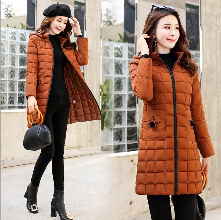 跨境外贸时尚棉服女爆款棉衣女中长款冬季韩版修身棉袄轻薄