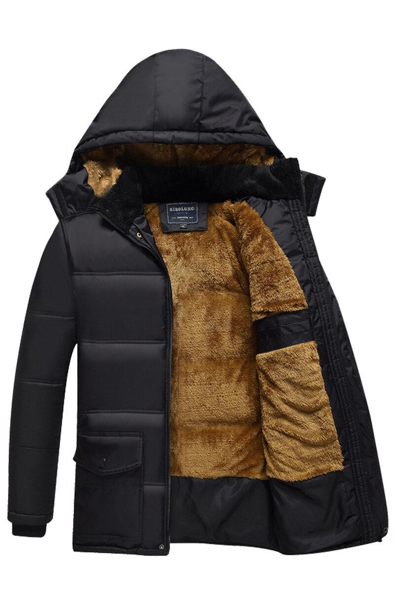 冬季新款中老年人羽绒棉服冬装加绒加厚毛领老人棉衣外套
