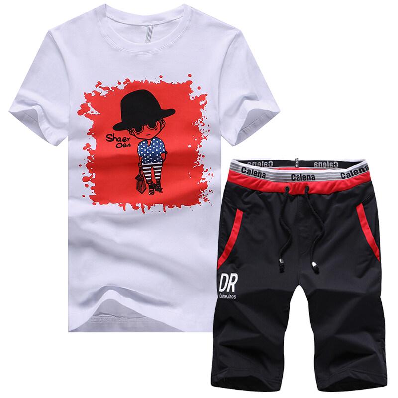 CR2018新款夏季运动套装男短袖圆领T恤套装韩版男式休闲套装男