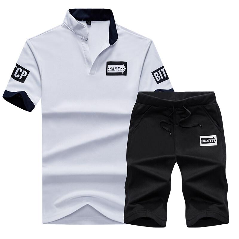新款青少年运动休闲两件套圆领短袖T恤衫松紧绳短裤大码运动装
