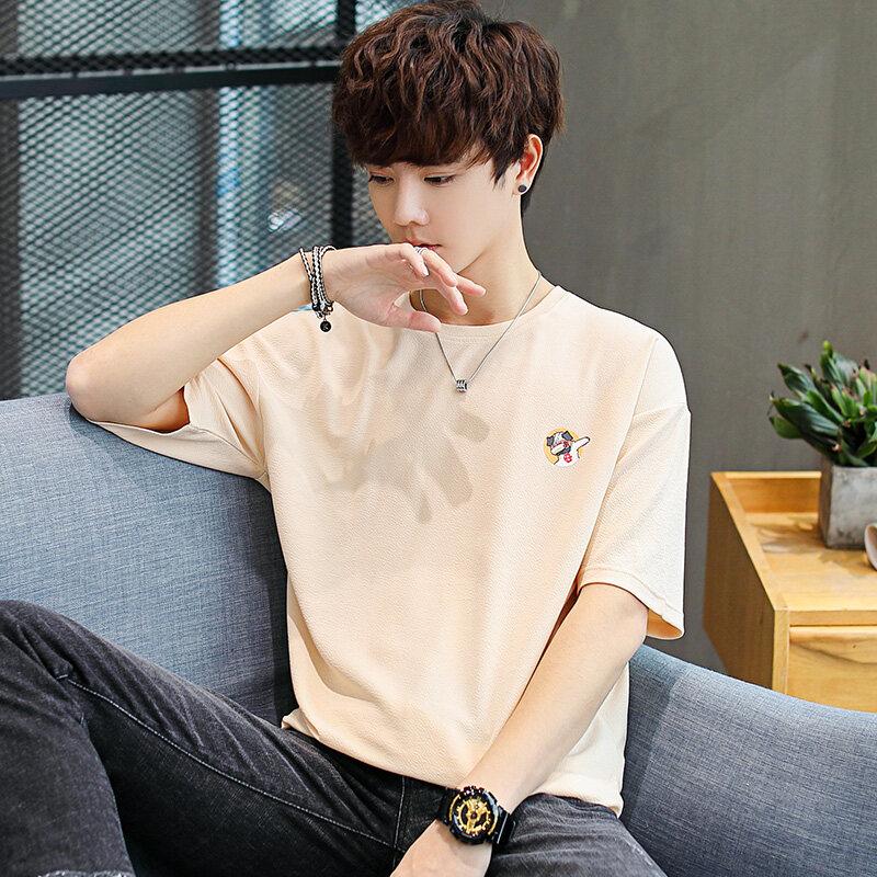 2019夏季青少年男士短袖T恤圆领宽松夏装学生五分半袖体恤衫