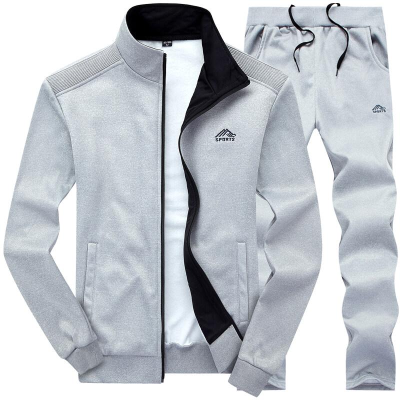 2019青年运动男士绣花卫衣合体立领纯色男装春秋季长袖开衫套