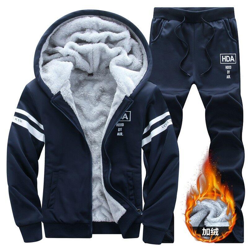 2018秋冬款加绒加厚运动休闲两件套男式套装跨境专供