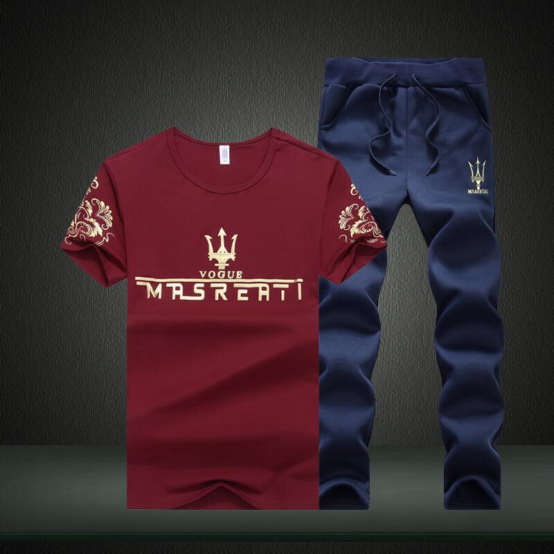 668春夏新款玛莎拉蒂男式圆领速干T恤打底衫长裤两件套套装