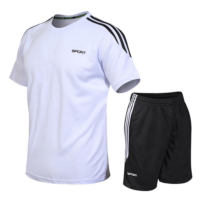 1802夏季运动套装男休闲跑步服短袖T男士运动衣训练运动装篮球服
