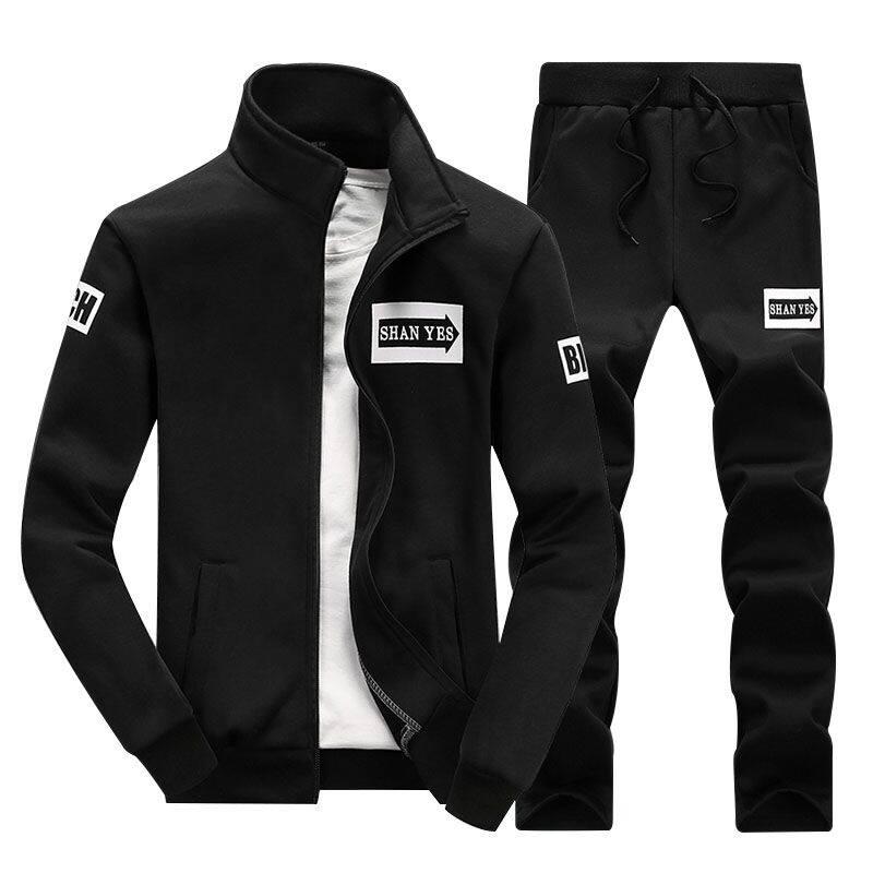 跨境专供秋季长袖运动套装男休闲韩版学生套裤子长袖两件套男装