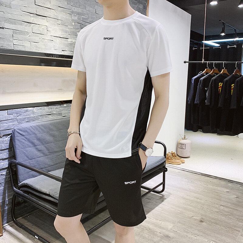 K12t恤短裤男士运动套装夏季薄款情侣速干健身房跑步服潮流两件套
