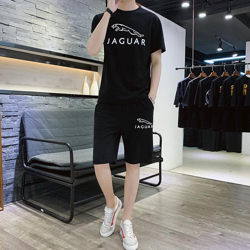 A9022019新款夏季运动套装男潮流韩版短袖T恤短裤两件套