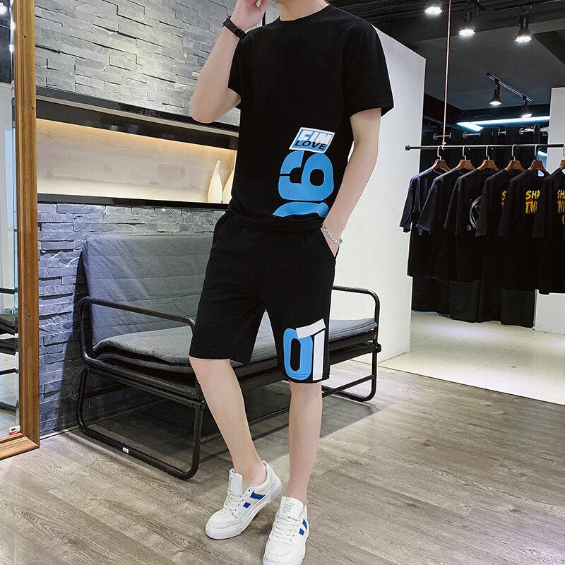 A9082019新款夏季运动套装男潮流韩版短袖T恤短裤两件套男休闲运