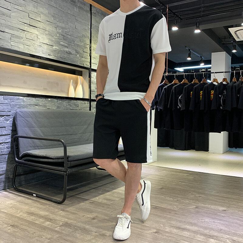 夏装新款男士运动休闲T恤短袖套装 时尚青年修身短裤男士