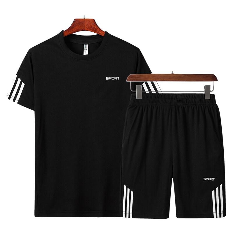 136-6夏季透气运动套装男短袖短裤宽松速干 休闲运动两件套 跨境热销