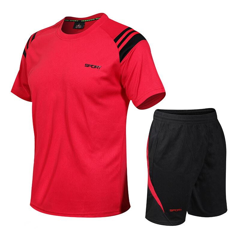 801夏季新款运动套装男晨跑运动装休闲男式短袖健身速干衣透气两件套