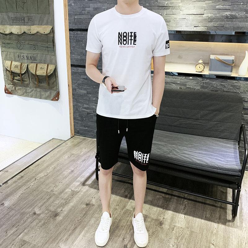 新款男式休闲套装纯棉 t恤男夏季新品休闲男式两件套运动短裤