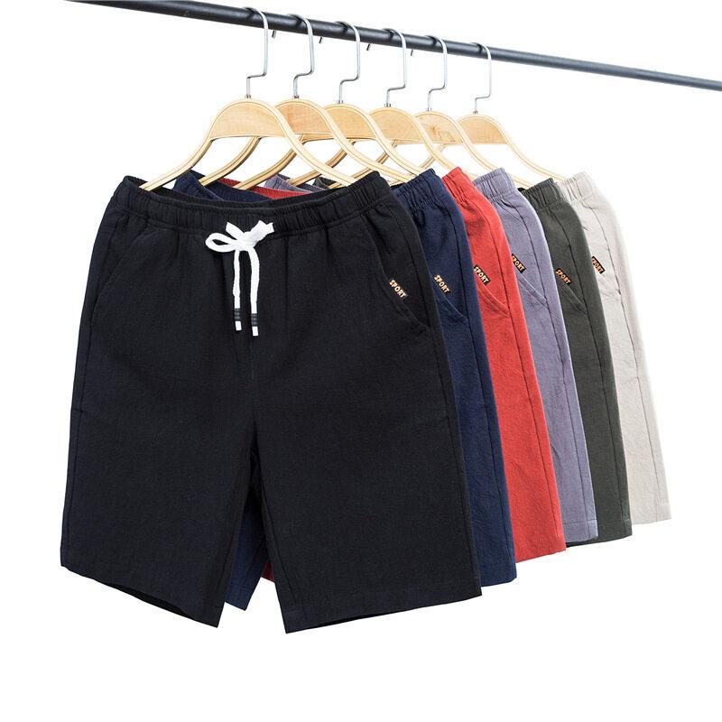 19爆款夏款时尚短裤男直筒宽松青少年学生大码棉麻休闲裤五分裤子