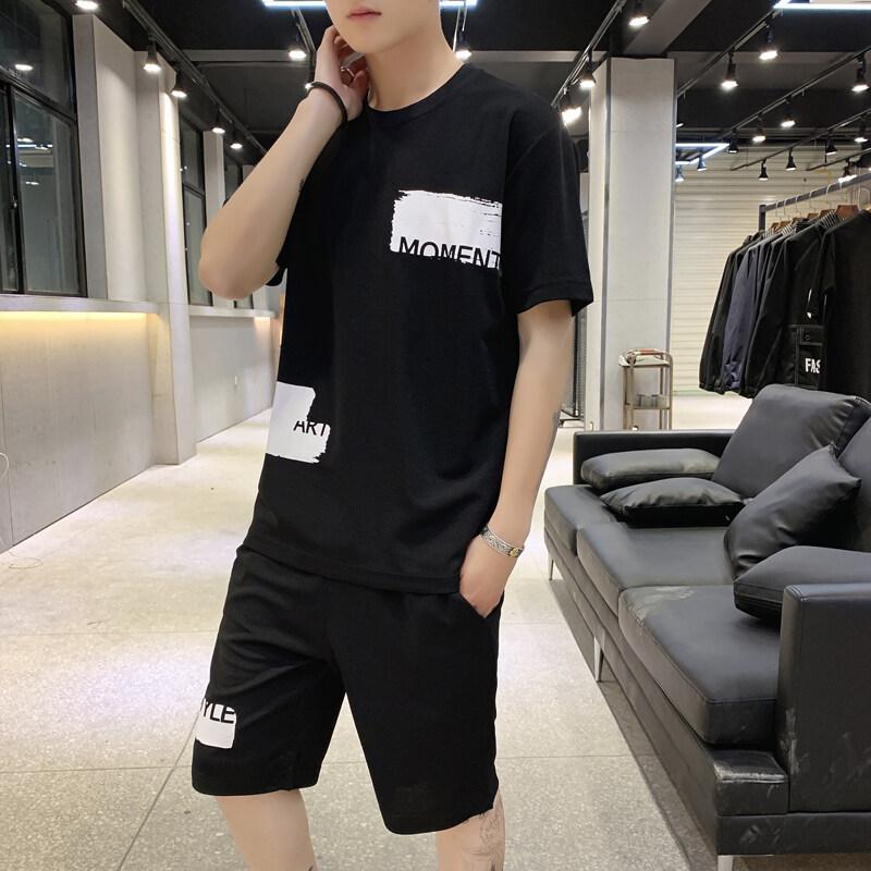 2019新款男士短袖短裤T恤韩版潮流休闲运动夏季春夏潮牌男装