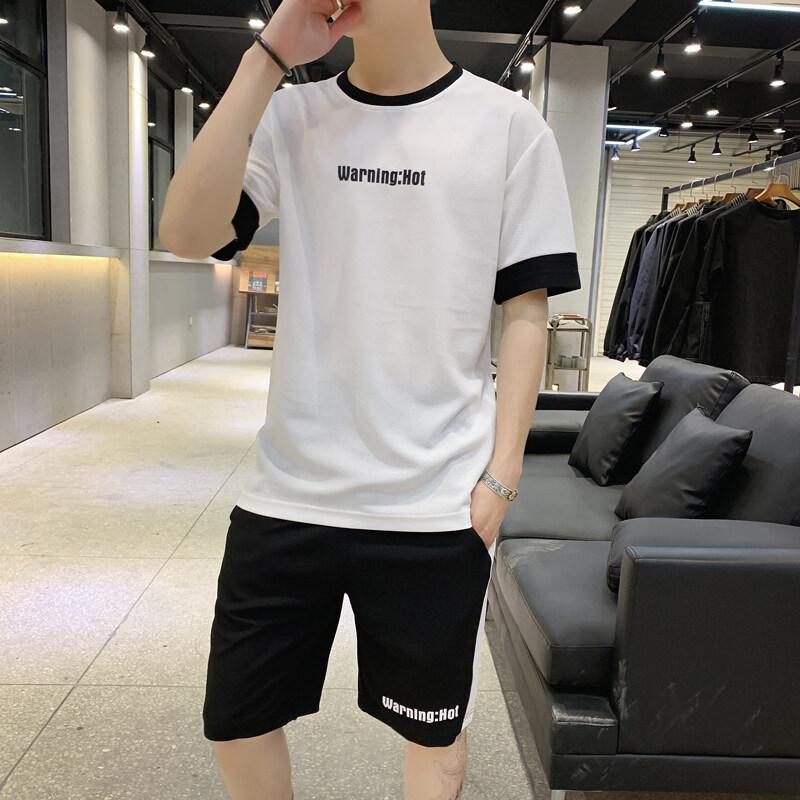 夏季短袖t恤短裤男士套装2019新款休闲运动潮牌男装一套帅气