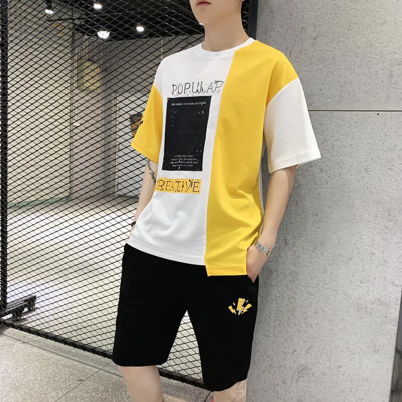 男士短袖t恤夏季一套装韩版潮流男装运动休闲帅气搭配短裤子夏装
