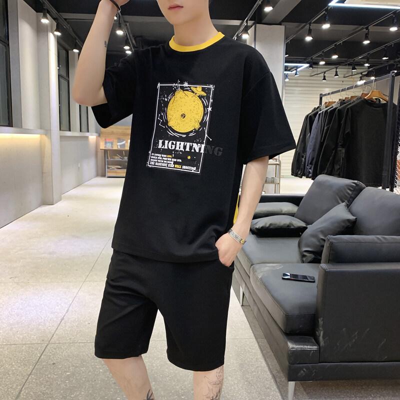 夏季套装男短袖休闲运动男士套装2019新款一套衣服男潮流帅气