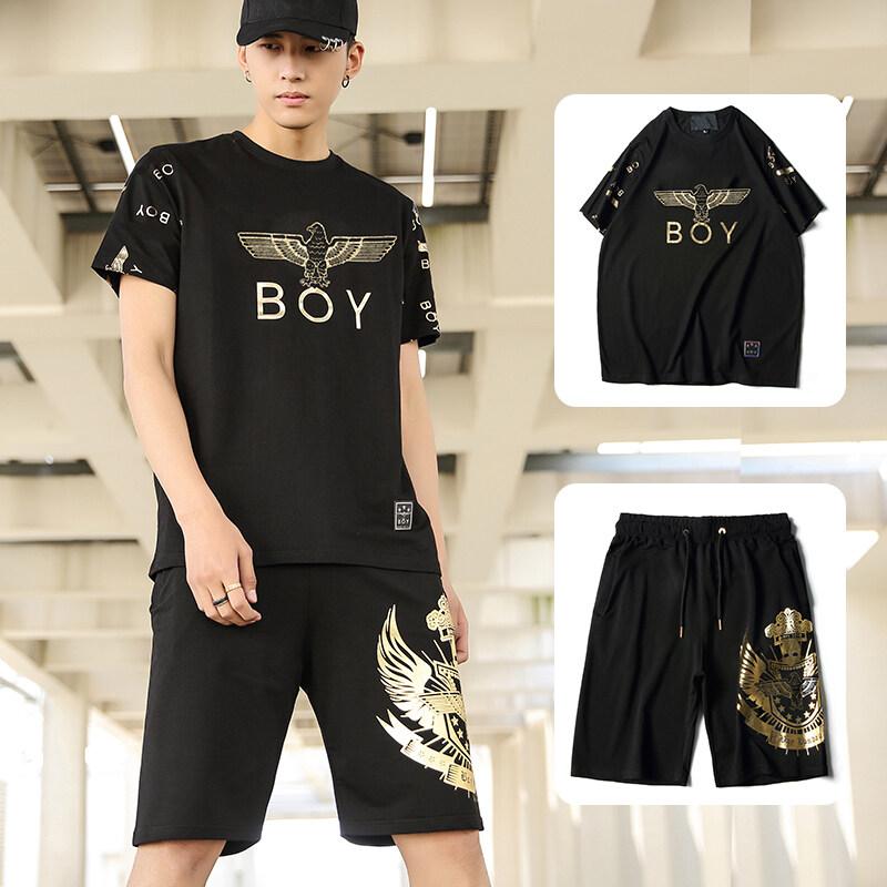 新款男士韩版休闲原宿潮牌BOY短袖套装ins潮流A21P五分裤夏季上衣