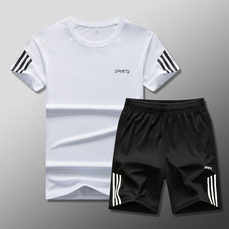R1908运动套装男夏季薄款速干羽毛球短袖宽松短裤健身跑步衣服吸汗透气