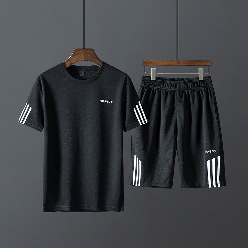 K13t恤短裤男士运动套装夏季薄款情侣速干健身房跑步服潮流两件套