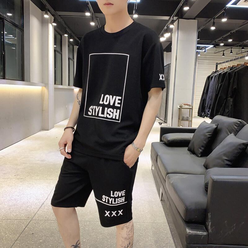 夏季短袖T恤套装男士韩版时尚短裤两件套帅气一套衣服潮191