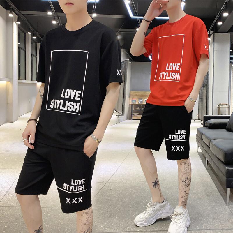 男士短袖t恤潮牌夏季潮流韩版夏天2019新款男装套191