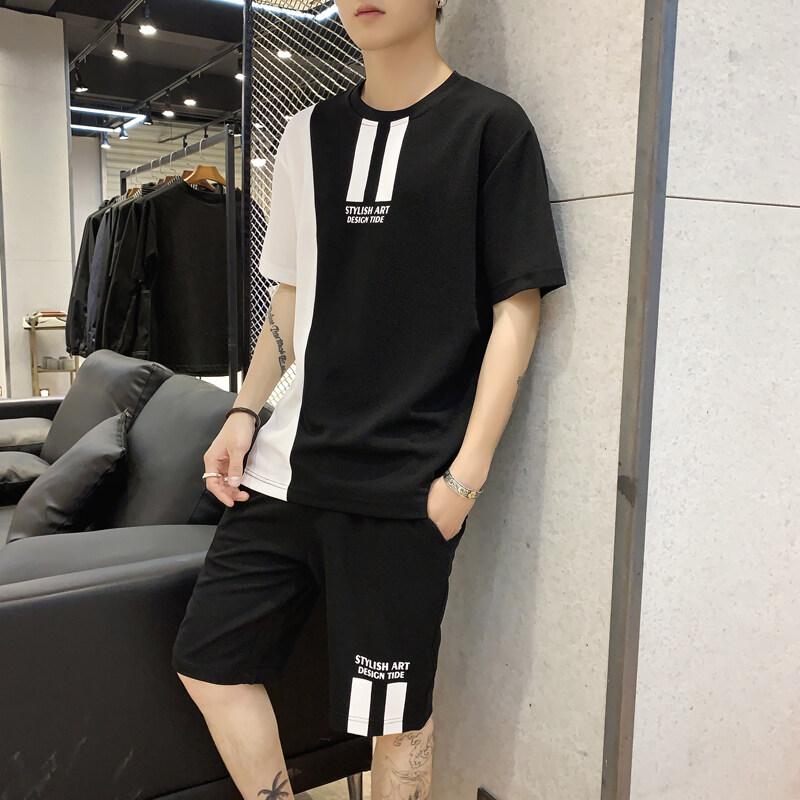 短袖t恤夏季套装韩版潮流男装运动休闲帅气搭配短裤子夏装192