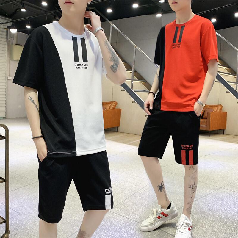 男士短袖T恤休闲运动套装韩版短裤潮流2019新款上衣服192