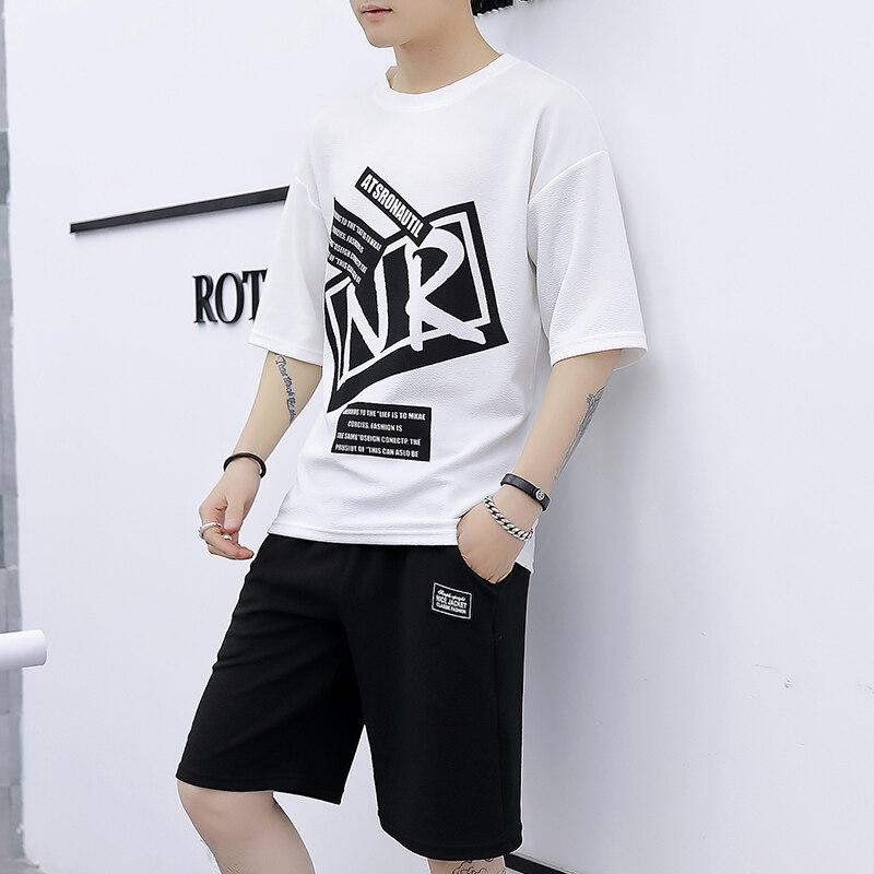 BES603休闲套装男夏短袖T恤五分短裤  98%聚酯纤维  2%氨纶