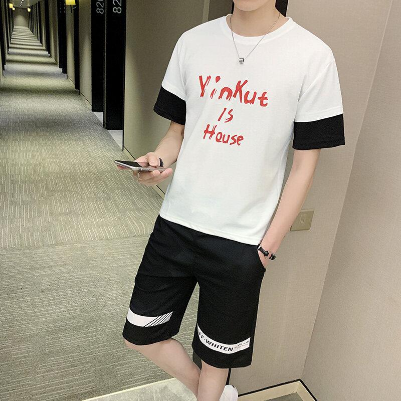 90192019新款休闲运动套装男夏季短袖短裤男士男装套装运动