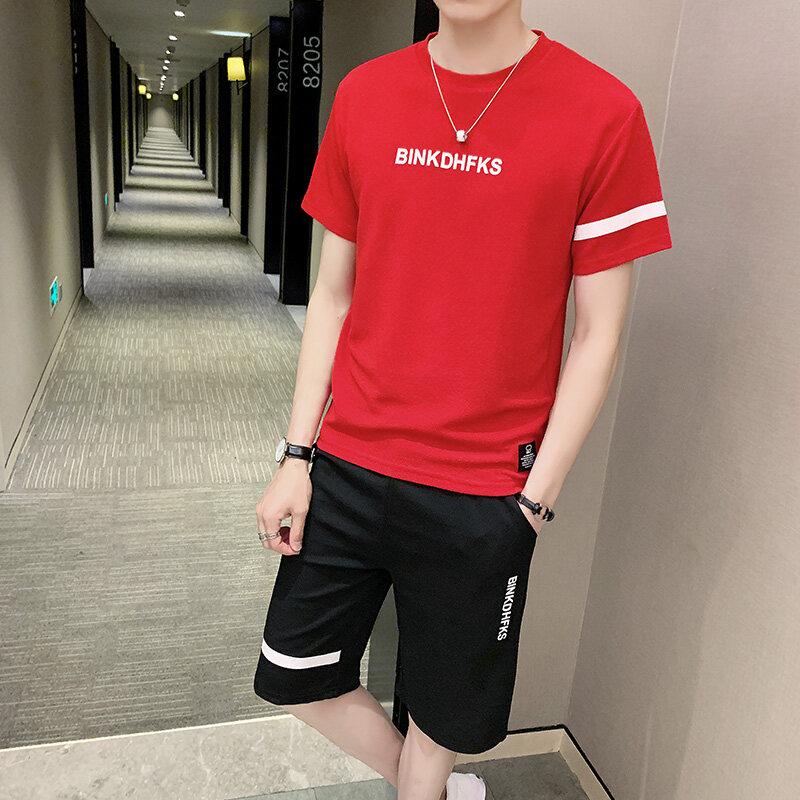 90172019新款休闲运动套装男夏季短袖短裤男士男装套装运动