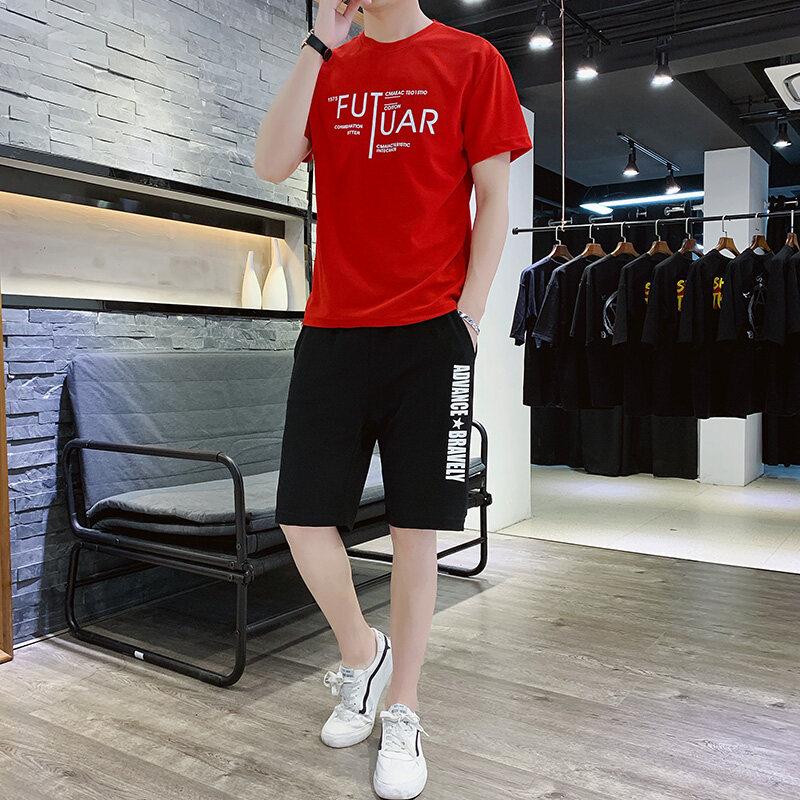 603夏季休闲裤运动套装短裤2019新款短袖t桖T恤蚂蚁皱两件套