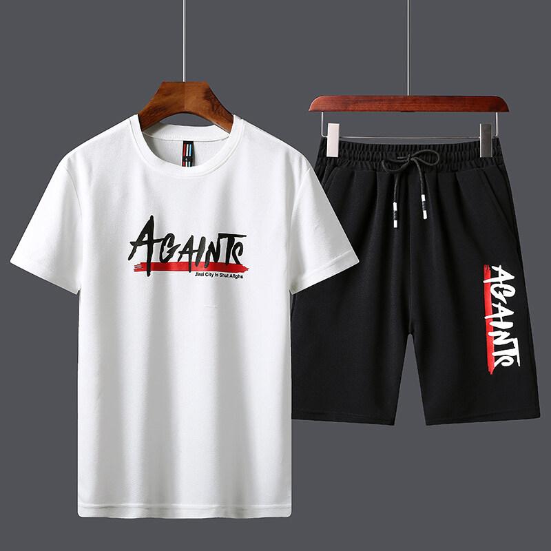 包邮。601夏季休闲裤运动套装短裤2019新款短袖t桖T恤蚂蚁皱两件套