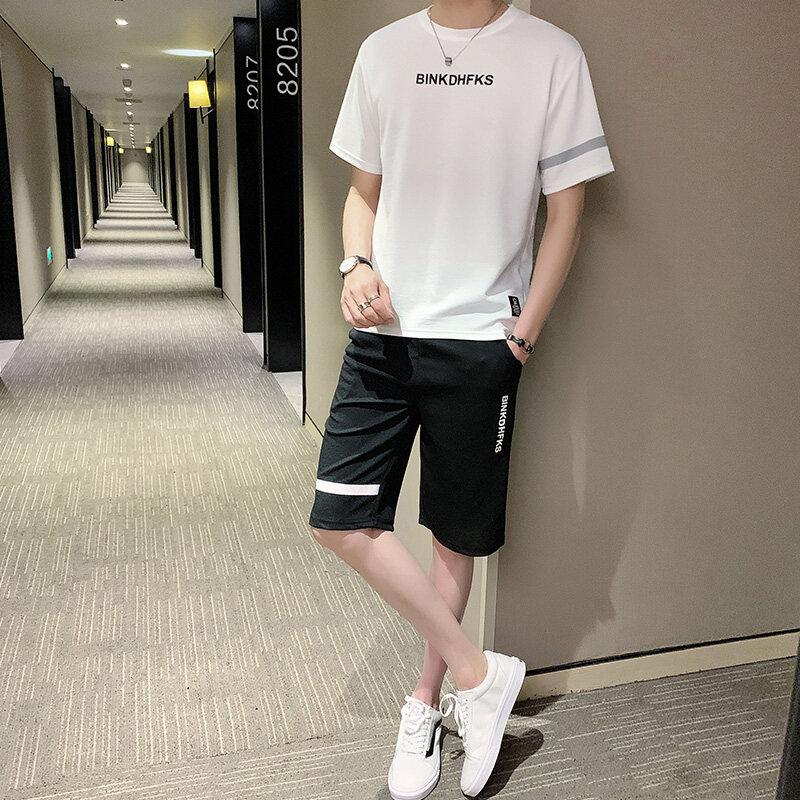 B90172019新款蚂蚁邹休闲运动套装男夏季短袖短裤男士男装套装运动