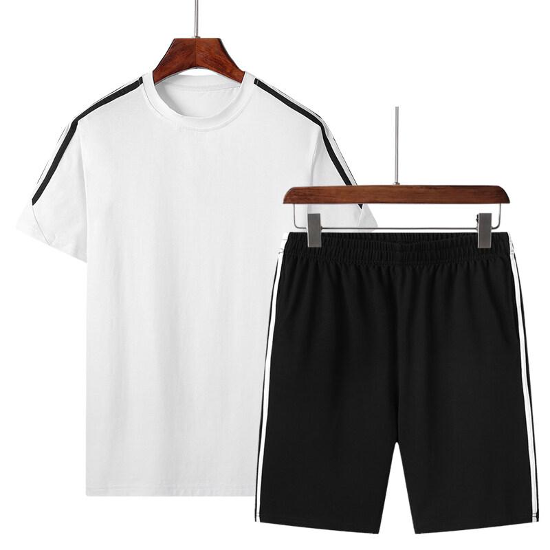 运动套装男短裤短袖t恤夏天宽松休闲两件套夏季跑步健身衣服
