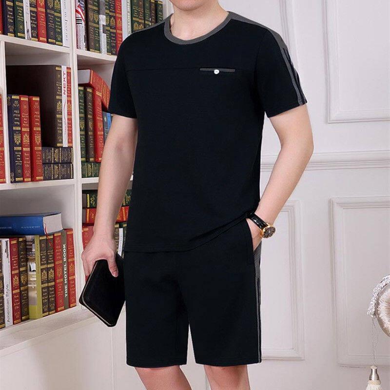 2019夏季中老年运动休闲套装男士跑步衣服大码薄款运动服