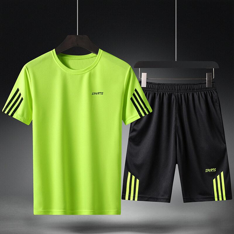 1608三条杆套装牧比斯运动套装男夏季跑步休闲健身运动服两件套新品速干运动男装