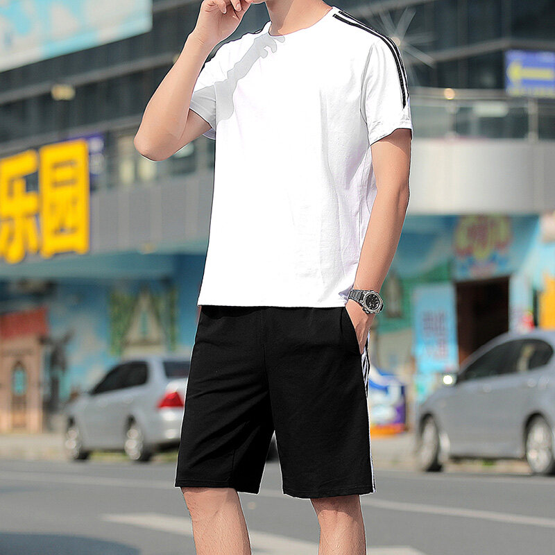2019夏季短袖男士套装韩版修身潮流两件套休闲运动服一套衣服