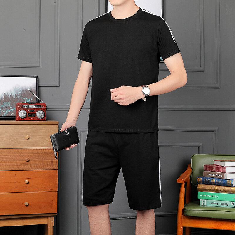 中年爸爸夏装休闲运动套装男士短袖短裤夏季中老年装夏装衣两件套