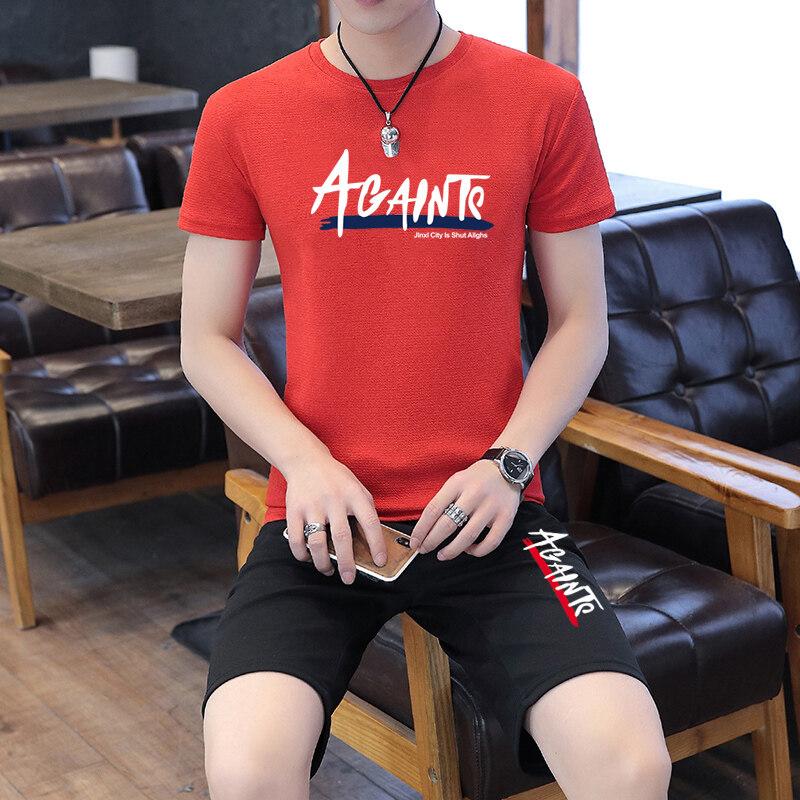 TZ188 蚂蚁皱2019夏季休闲套装男士薄款圆领短袖T恤青年短款五分