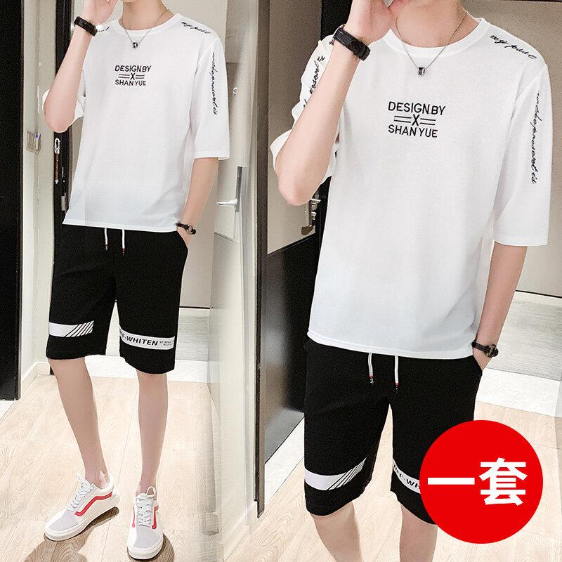 20062019夏季新款男士套装韩版修身男式潮流短袖短裤休闲套装