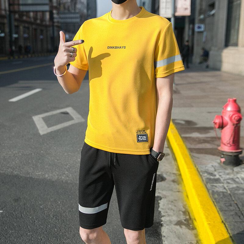 T312厂家直供2020运动套装男夏季跑步服休闲套装休闲户外衣服装